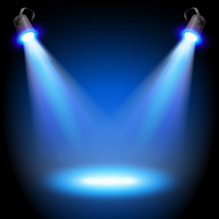 Two reflectors with headlight beams on blue background - place for your text or object. Illustration. Ilustrace
