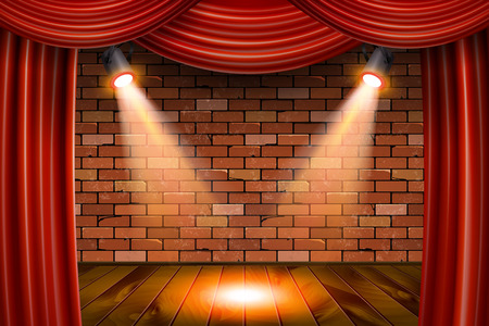 Wooden stage with red curtains and a white brick wall with spotlights, mock up, 3d render