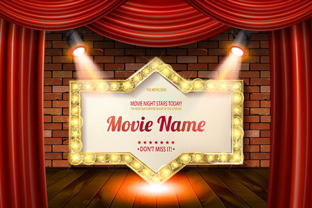 Golden frame in cinematic style on brick wall and red curtain background with spotlights. Vector illustration Archivio Fotografico - 104445901