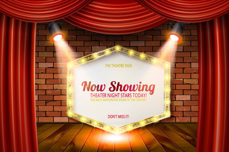 Golden frame in cinematic style on brick wall and red curtain background with spotlights. Vector illustration Imagens - 104445907