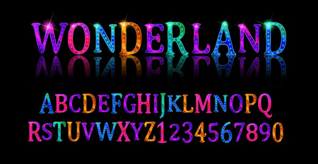 Wonderland font. Fairy ABC. Set of letters. Magical beast with long striped tail. Vector illustration