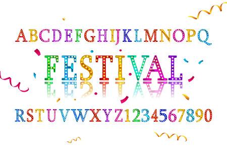 Colorful vibrant fun festive party alphabet font letters. Vector illustration