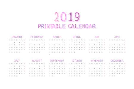 Childrens funny calendar for 2019 in pink. Vector illustration