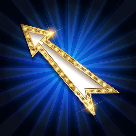 Realistic 3d arrow with electric bulbs. Retro light sign. Vector illustration.