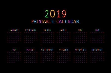 Calendar 2019 with happy children. Horizontal on black background. Vector illustration Illustration