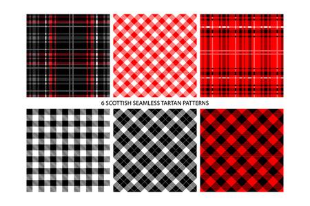 Tartán de leñador y patrones de cuadros de cuadros de búfalo en rojo. Fondos de estilo hipster de moda. Vector EPS File Pattern Muestras realizadas con colores globales.