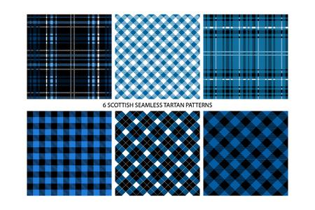 Tartán de leñador y patrones de cuadros de cuadros de búfalo en azul. Fondos de estilo hipster de moda. Vector EPS File Pattern Muestras realizadas con colores globales.