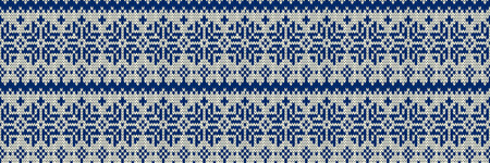 Winter Holiday Sweater Design. Seamless Knitting Pattern. Horizontal orientation. Vector illustration