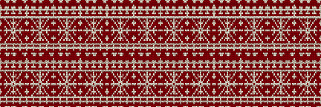Christmas Sweater Design. Seamless Holiday Knitted Pattern. Horizontal orientation. Vector illustration