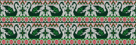 Embroidered traditional motif Swans ornamental seamless pattern. Horizontal orientation. Vector illustration