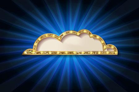 Golden glitter vector speech bubble frame isolated on dark blue background. vector illustration