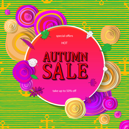 Autumn sale flyer template with lettering. Bright fall leaves. Poster, card, label, banner design. Bright geometrical background. Vector illustration EPS10 Ilustração