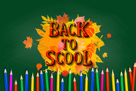 Back to school board pencil design. Colored pencils with autumn leaves in watercolor style on school Board background. Vector illustration