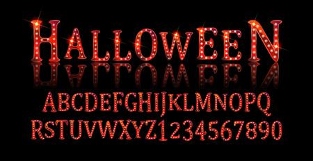 Vintage Halloween Original Typeface. Retro Creepy Style Halloween Font. Vector Illustration. Hand Drawn Halloween Alphabet. Illustration