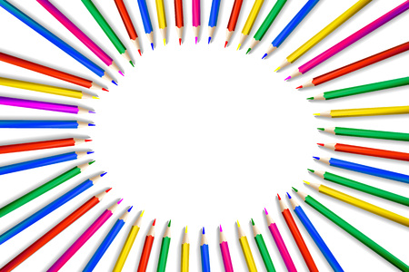 Crayons - colored pencil set loosely arranged - vector on white background. Vector illustration