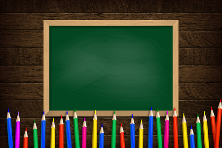 Colored pencils on green school Board background. Vector illustration. On wooden background
