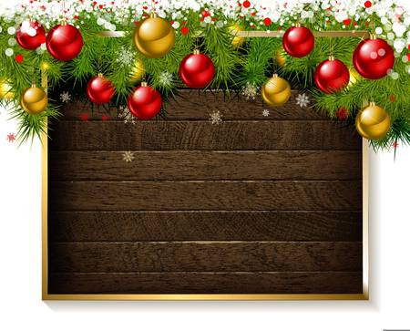 Christmas decoration on old grunge wooden board. Vector illustration