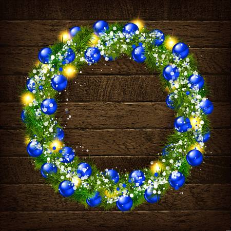 Christmas wreath on wooden background. Christmas greeting background 2019. Vector illustration Vectores