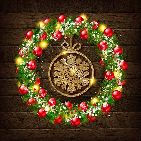Christmas wreath with gold snowflake on wooden background. Vector illustration