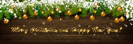 Christmas and New Year typographical on holiday background with Xmas decoration, branch of fir tree and snow. Merry Christmas and Happy New Year theme Ilustração