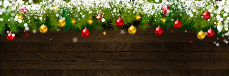 Christmas and New Year background on holiday background with Xmas decoration, branch of fir tree and snow. Merry Christmas and Happy New Year theme