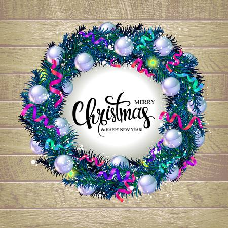 Christmas wreath with fir branches, ribbon, cones, stars, beads, balls, snowflakes and the words Merry Christmas on the wooden background. Vector illustration