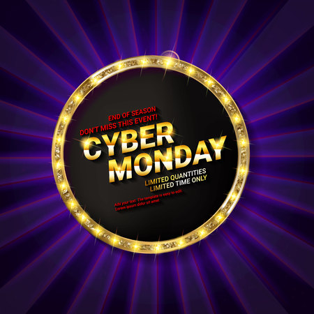 Cyber Monday. Banner with Golden round frame. Vector illustration