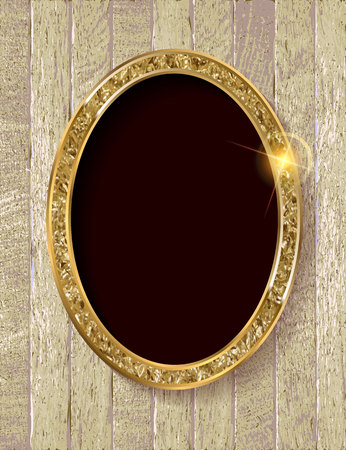 Gold vintage frame isolated on old wooden background