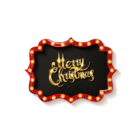 Invitation merry christmas party poster. on white background. Vector illustration Standard-Bild - 127666961