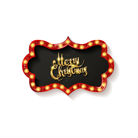 Invitation merry christmas party poster. on white background. Vector illustration Standard-Bild - 127666962