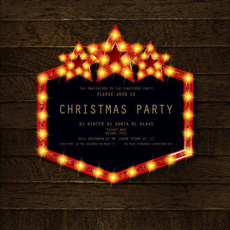 Invitation merry christmas party poster. on wooden background. Vector illustration 写真素材 - 127666963