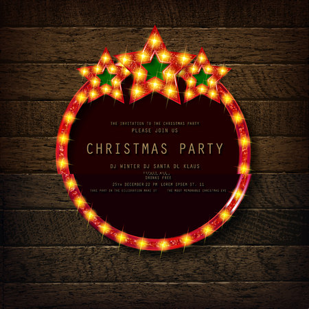 Invitation merry christmas party poster. on wooden background. Vector illustration 写真素材 - 127666964