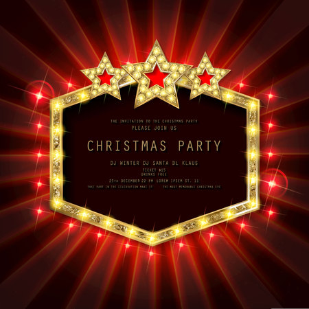 Invitation merry christmas party poster. on dark background. Vector illustration