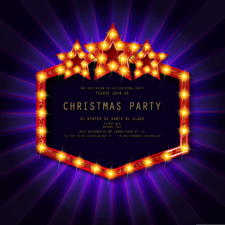 Invitation merry christmas party poster. on dark background. Vector illustration Standard-Bild - 127666966