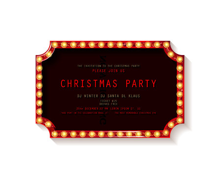 Invitation merry christmas party poster. on white background. Vector illustration 写真素材 - 127666967