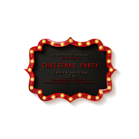 Invitation merry christmas party poster. on white background. Vector illustration 写真素材 - 127666968