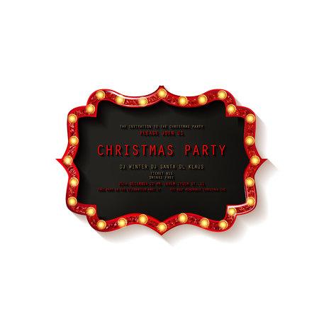 Invitation merry christmas party poster. on white background. Vector illustration Standard-Bild - 127666968