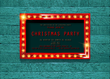 Invitation merry christmas party poster. on wooden background. Vector illustration 写真素材 - 127666969