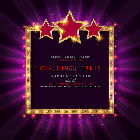 Invitation merry christmas party poster. on dark background. Vector illustration Standard-Bild - 127666970