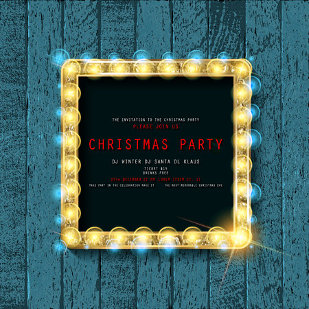 Invitation merry christmas party poster. on wooden background. Vector illustration 写真素材 - 127666971