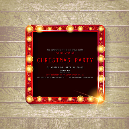 Invitation merry christmas party poster. on wooden background. Vector illustration Standard-Bild - 127666972