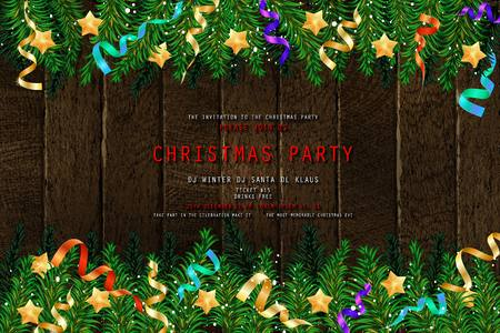 Invitation to Christmas party on wooden background with tinsel and balls. Vector illustration 写真素材 - 127633534