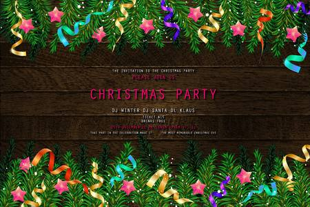 Invitation to Christmas party on wooden background with tinsel and balls. Vector illustration 写真素材 - 127633535