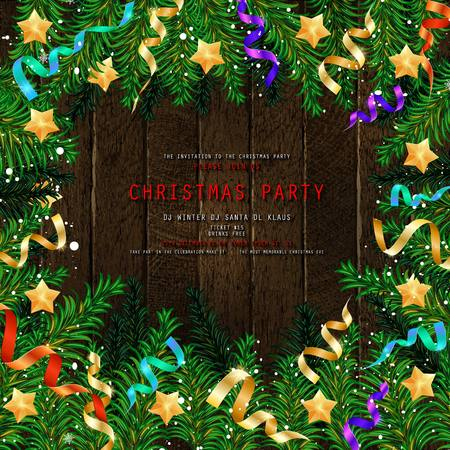Invitation to Christmas party on wooden background with tinsel and balls. Vector illustration 写真素材 - 127633536