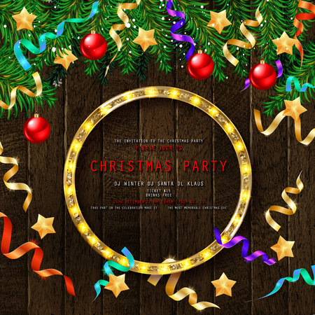 Invitation to Christmas party on wooden background with tinsel and balls. Vector illustration 写真素材 - 127633537