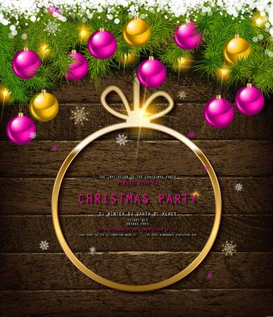 Invitation to Christmas party on wooden background with tinsel and balls. Vector illustration Standard-Bild - 127633538