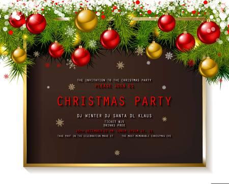 Invitation to Christmas party on wooden background with tinsel and balls. Vector illustration Standard-Bild - 127633540