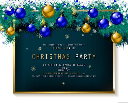 Invitation to Christmas party on wooden background with tinsel and balls. Vector illustration Standard-Bild - 127633541