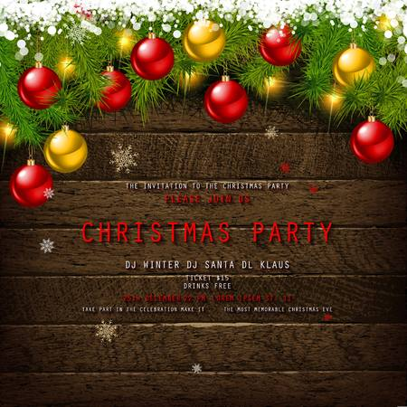 Invitation to Christmas party on wooden background with tinsel and balls. Vector illustration Standard-Bild - 127633542