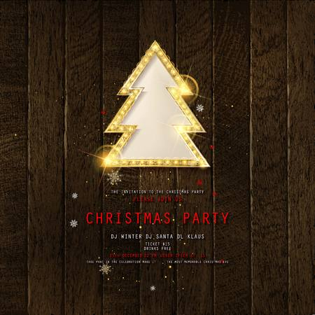 Invitation to Christmas party on wooden background with Golden Christmas tree. Vector illustration